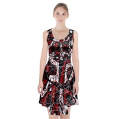 Red black and white abstract high art Racerback Midi Dress