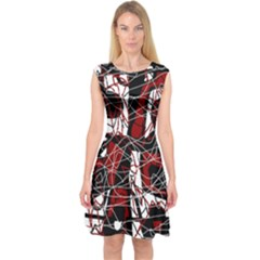 Red black and white abstract high art Capsleeve Midi Dress
