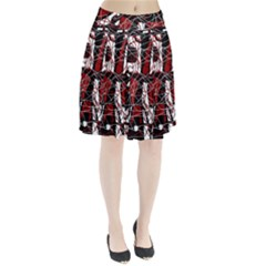 Red black and white abstract high art Pleated Skirt
