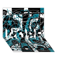 Blue, black and white abstract art HOPE 3D Greeting Card (7x5)