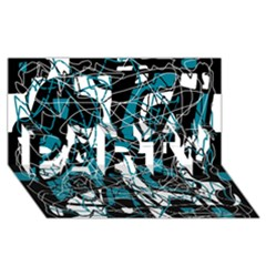 Blue, black and white abstract art PARTY 3D Greeting Card (8x4)