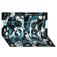 Blue, black and white abstract art SORRY 3D Greeting Card (8x4)