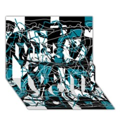Blue, black and white abstract art Miss You 3D Greeting Card (7x5)