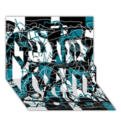 Blue, black and white abstract art THANK YOU 3D Greeting Card (7x5)