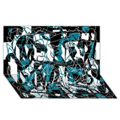 Blue, black and white abstract art Merry Xmas 3D Greeting Card (8x4)