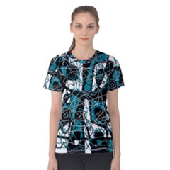 Blue, black and white abstract art Women s Cotton Tee