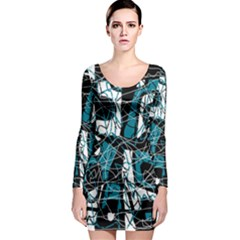 Blue, black and white abstract art Long Sleeve Bodycon Dress