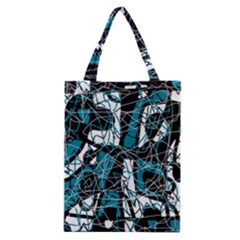 Blue, black and white abstract art Classic Tote Bag