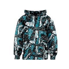 Blue, black and white abstract art Kids  Pullover Hoodie