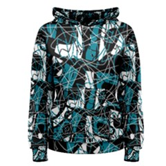 Blue, black and white abstract art Women s Pullover Hoodie