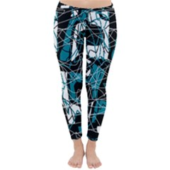 Blue, black and white abstract art Winter Leggings