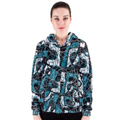 Blue, black and white abstract art Women s Zipper Hoodie