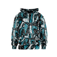 Blue, black and white abstract art Kids  Zipper Hoodie