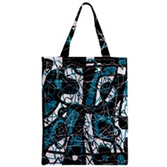 Blue, black and white abstract art Zipper Classic Tote Bag