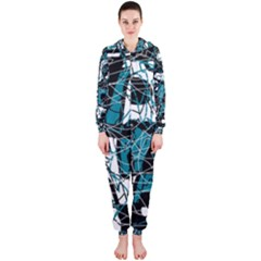 Blue, black and white abstract art Hooded Jumpsuit (Ladies)