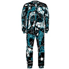 Blue, black and white abstract art OnePiece Jumpsuit (Men)