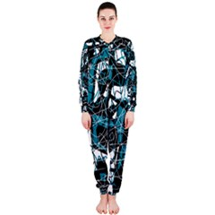 Blue, black and white abstract art OnePiece Jumpsuit (Ladies)