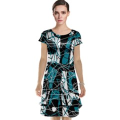 Blue, black and white abstract art Cap Sleeve Nightdress
