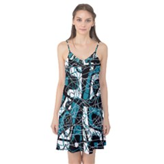 Blue, black and white abstract art Camis Nightgown