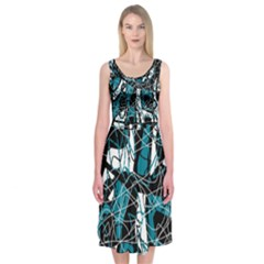 Blue, Black And White Abstract Art Midi Sleeveless Dress