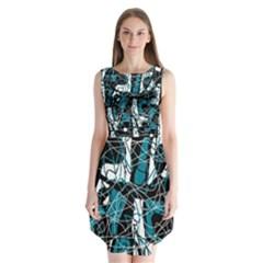 Blue, black and white abstract art Sleeveless Chiffon Dress