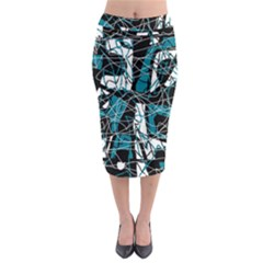 Blue, black and white abstract art Midi Pencil Skirt