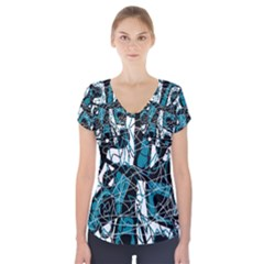 Blue, black and white abstract art Short Sleeve Front Detail Top