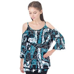 Blue, black and white abstract art Flutter Tees