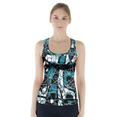 Blue, black and white abstract art Racer Back Sports Top