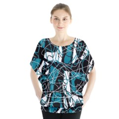 Blue, Black And White Abstract Art Blouse