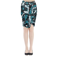 Blue, black and white abstract art Midi Wrap Pencil Skirt