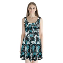 Blue, black and white abstract art Split Back Mini Dress