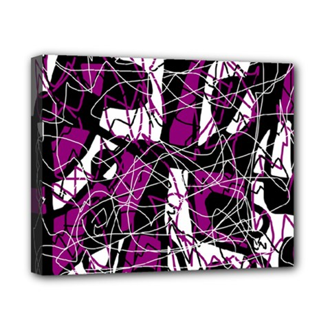Purple, white, black abstract art Canvas 10  x 8