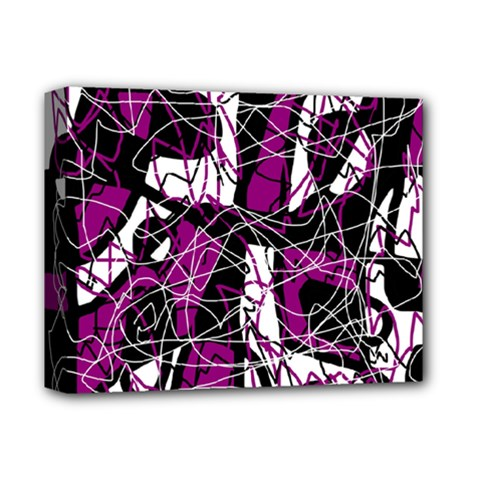 Purple, white, black abstract art Deluxe Canvas 14  x 11