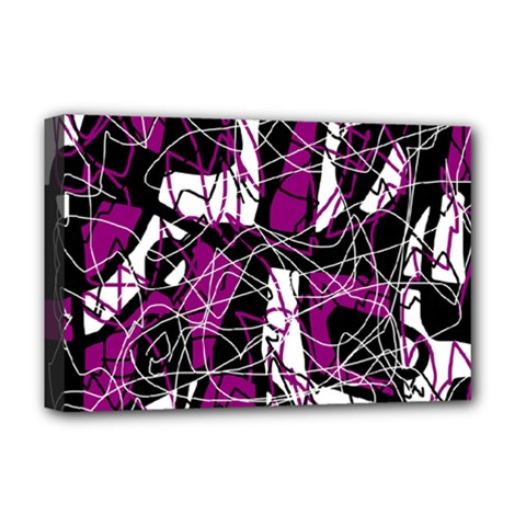 Purple, white, black abstract art Deluxe Canvas 18  x 12