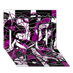 Purple, white, black abstract art I Love You 3D Greeting Card (7x5)