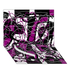 Purple, white, black abstract art Heart Bottom 3D Greeting Card (7x5)