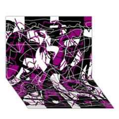 Purple, white, black abstract art Ribbon 3D Greeting Card (7x5)