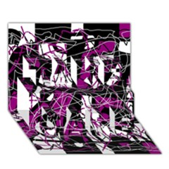 Purple, white, black abstract art TAKE CARE 3D Greeting Card (7x5)