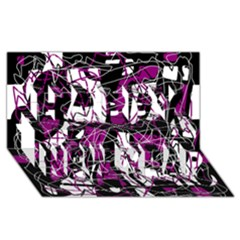 Purple, white, black abstract art Happy New Year 3D Greeting Card (8x4)