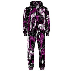 Purple, white, black abstract art Hooded Jumpsuit (Men)