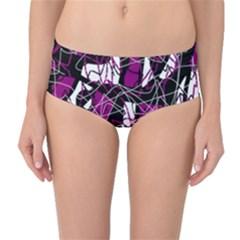 Purple, white, black abstract art Mid-Waist Bikini Bottoms