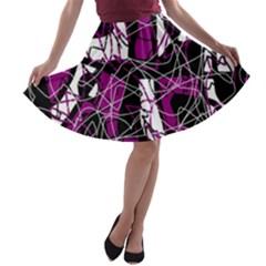 Purple, white, black abstract art A-line Skater Skirt