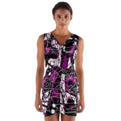 Purple, white, black abstract art Wrap Front Bodycon Dress