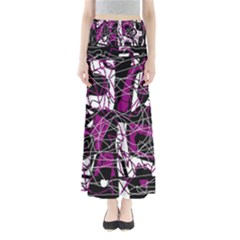 Purple, White, Black Abstract Art Maxi Skirts