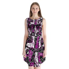 Purple, white, black abstract art Sleeveless Chiffon Dress
