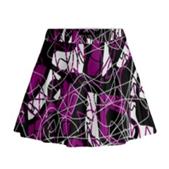 Purple, White, Black Abstract Art Mini Flare Skirt