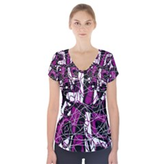 Purple, white, black abstract art Short Sleeve Front Detail Top