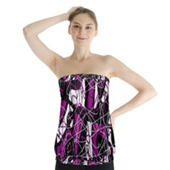 Purple, white, black abstract art Strapless Top