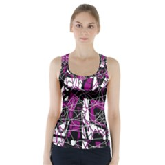 Purple, white, black abstract art Racer Back Sports Top